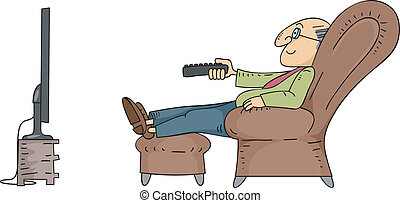 Senior Man Watching TV - Illustration of an Elderly Male...