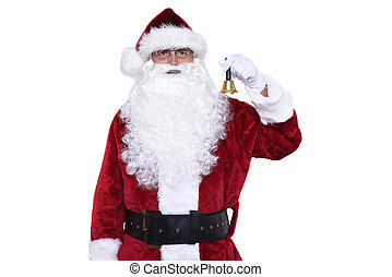 Senior man wearing a traditional Sant Claus costume holding a a gold bell ringing in Christmas.