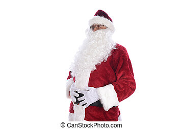 Senior man wearing a traditional Santa Claus costume holding his belly in both hands, side view. Isolated on white.