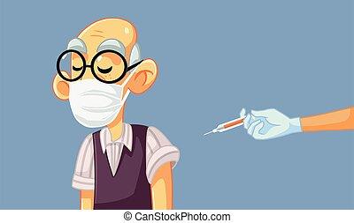 Senior Man Wearing Medical Mask Getting a Vaccine