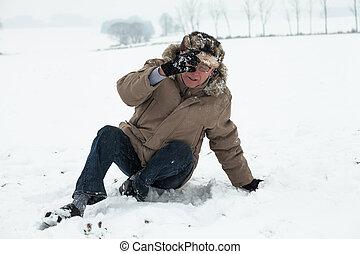 Senior man winter accident