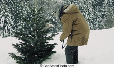 Senior man with a hand saw getting a Christmas tree in...