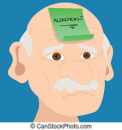 Senior man with Alzheimer sticky note - Memory loss or...