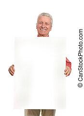 Senior man with blank