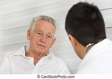 Senior man with doctor