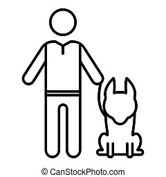 Senior man with dog icon, outline style