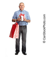 Senior man with gift
