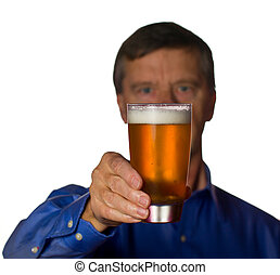 Senior man with glass of beer