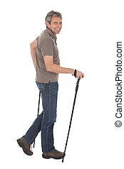 Senior man with hiking poles