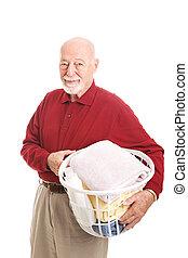 Senior Man with Laundry