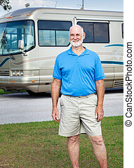 Senior Man with Motor Home