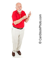 Senior Man with MP3 Player - Full Body