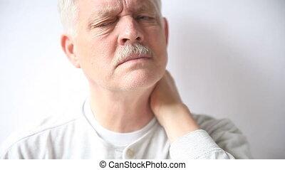 senior man with stiff neck