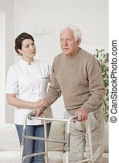 Senior man with walker