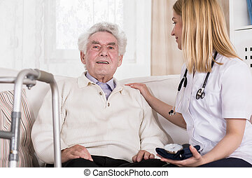 Senior man with walking disability