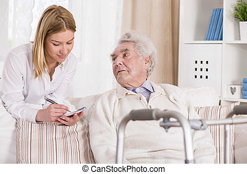 Senior man with walking problem