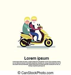 Senior Man Woman Couple Ride Motorcycle