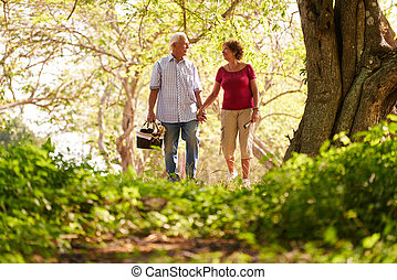 Senior Man Woman Old Couple Doing Picnic