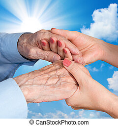 Senior Man, Woman with their Caregiver.