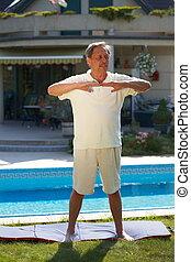 Senior man workout