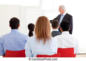 Senior manager giving a presentation
