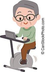 senior mand, exercising, på, fast, bikes, ind, fitness klasse