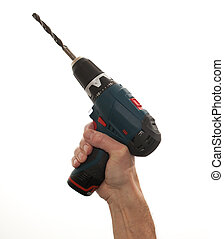 Senior mans arm holding a power drill