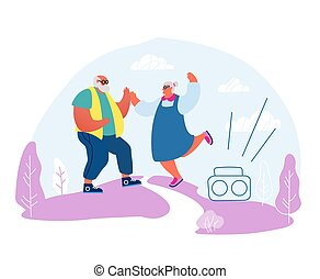 Senior Married Couple Dancing Sparetime. Elderly People Active Lifestyle, Old Stylish Man and Woman in Loving