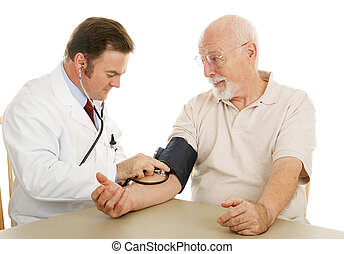 Senior Medical - Blood Pressure - Senior man at the doctor...