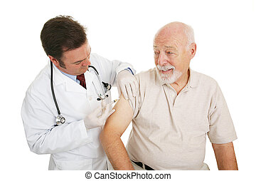 Senior Medical - Flu Shot - Senior man getting a flu shot ...