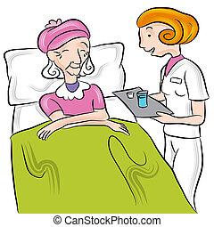 Senior Medication - An image of a nurse giving medication to...