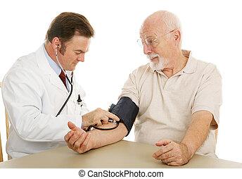 senior, medisch, -, bloeddruk