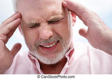 Senior men with a migraine