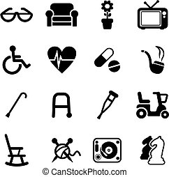 senior, mensen, iconen