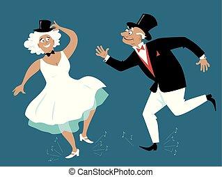 senior, mensen, kraan het dansen