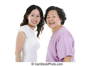 Senior mother and adult daughter portrait