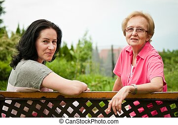 Senior mother with daughter