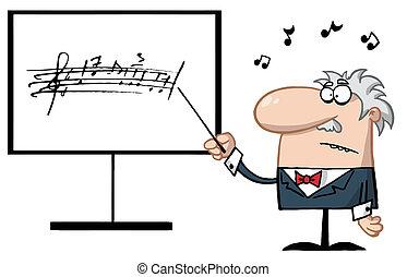 Senior Music Teacher Pointing To A Music Board