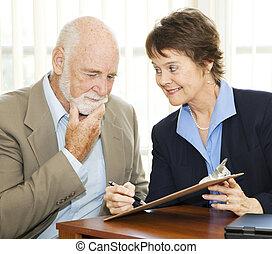 senior, niechętny, do, znak, kontrakt