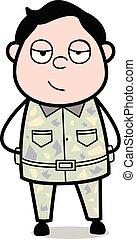 Senior Officer Smiling Face - Cute Army Man Cartoon Soldier Vector Illustration