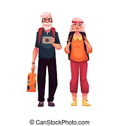 Senior, old couple travelling with backpacks, suitcase and camera