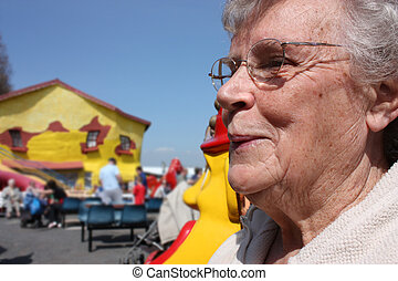 senior old lady at the seaside