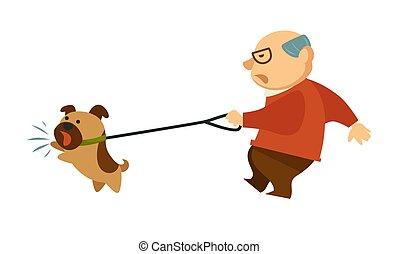 Senior old man walking with angry dog domestic animal...