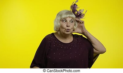 Senior old woman overhearing private conversation, trying to...