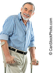 senior on crutches