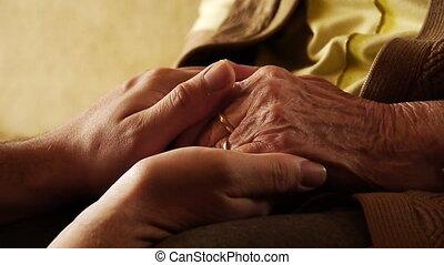 senior, oude vrouw, jonge man, houden, hand, rimpel, huid,...