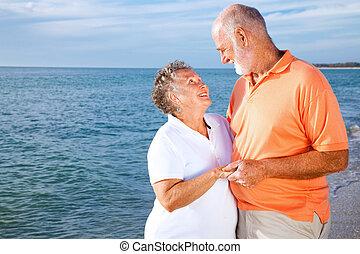 senior, -, paar, romatic, vakantie
