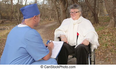 senior, pacjent, w, wheelchair
