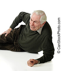 Senior Pain - A vertical image of a senior man on the ground...