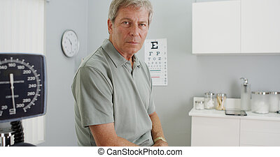 Senior patient looking at the camera